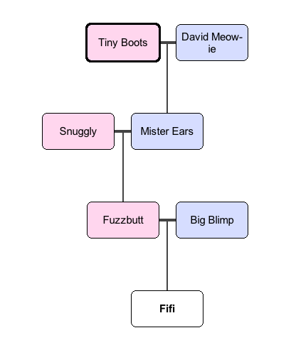 Decontextualize recursion and context free grammars read this chart from bottom to top fifi has two parents fuzzbutt the mother or queen in cat fancy terms and big blimp the sire ccuart Gallery